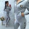 2 Pcs Mulheres Agasalho Com Capuz Camisola Hoodies Calças Conjuntos Sportwear NOVA