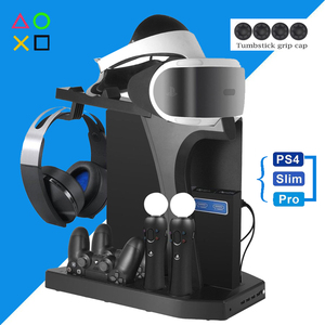PS4 Pro Slim PS VR Vertical Stand Cooling Fan Controller Charger Headset Holder Base Play Station PS 4 PSVR Move Accessories(China)