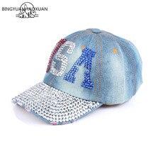 2d20462fed0 BINGYUANHAOXUAN New Fashion Health Care For Women Denim Cotton Rhinestone  Hat Baseball Cap With Letter Diamante
