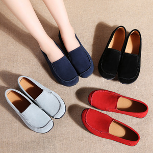Image 5 - STQ 2020 Autumn Women Flats Leather Suede Slip On Loafers Shoes Ballet Flats Shoes Laides Boat Shoes Oxford Shoes For Women 685