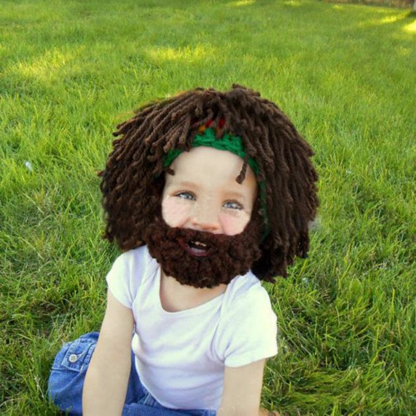 New Good Quality Childrens Hat Funny Brown Crazy Beard Wig Hats Handmade Knit Warm Winter Caps Men Women Kid Hats Gift Best Deal