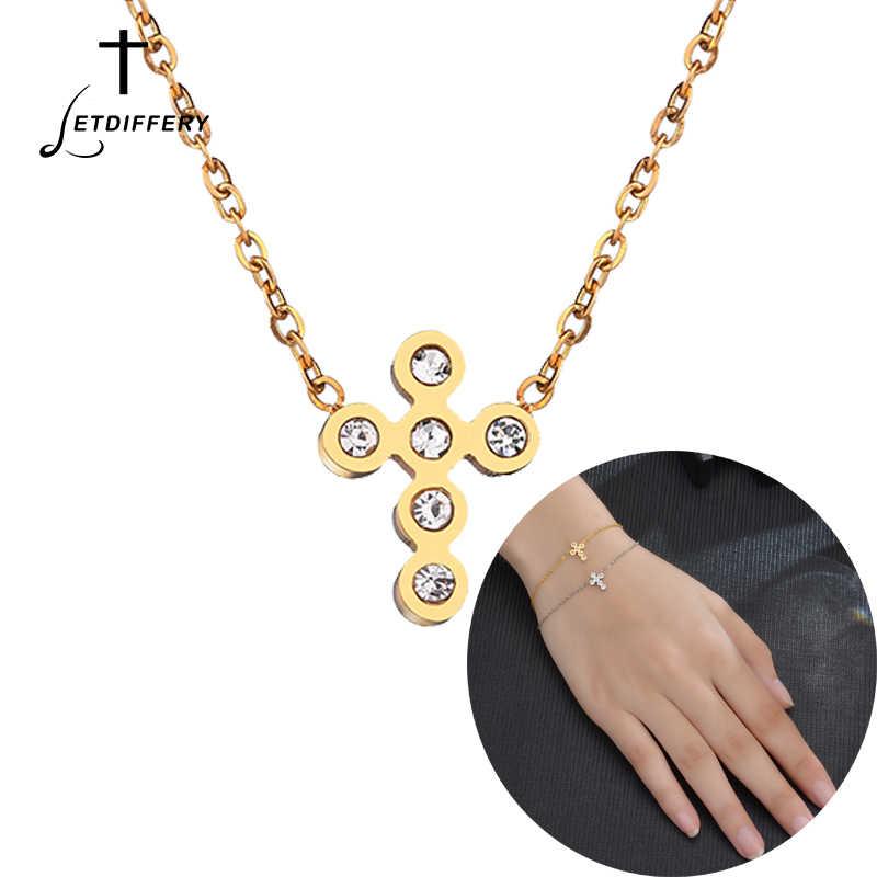 86959be7c297 Letdiffery crucifijo Jesús cristiano mujeres Horizontal cruzada oblicua  pulseras collar joyería del Rhinestone damas de honor