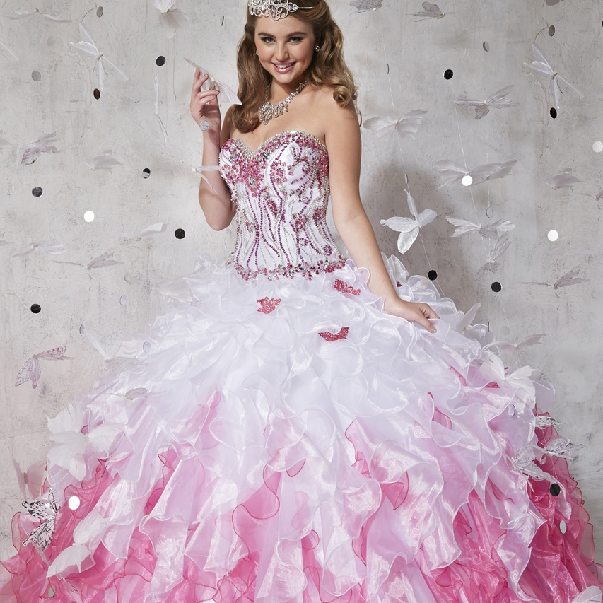 Pink and White Ball Gown Dresses