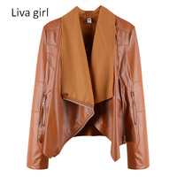 Liva Girl 2017 Autumn Winter Women Casual Jackets Solid Color PU Slim Jacekts Coat Plus Size