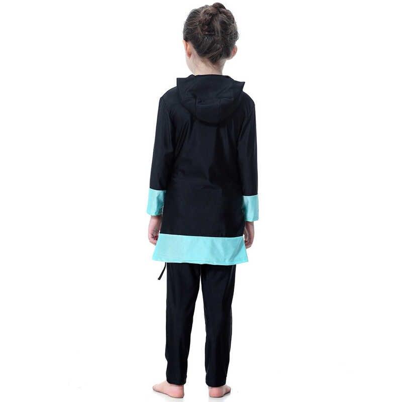 Cộng với Kích Thước 2019 2 Mảnh Bộ Trẻ Em Cô Gái Nhanh Chóng Khô Banador Abaya Dubai Hồi Giáo Hồi Giáo Swimwear Áo Tắm Burkinis Traje De bano