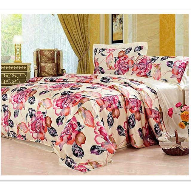 Silk Bedding Set 4pcs Floral Color 100% Silk Luxurious Mulberry Pure Print Soft Silk Pillowcase Flat Sheet Duvet Cover ls2107
