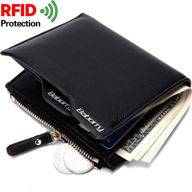 Nuevo diseño de protección anti RFID que bloquea la cartera de cuero de los hombres con bolsillo monedero Hombre monedero bolsa de dinero titular de la tarjeta para hombre