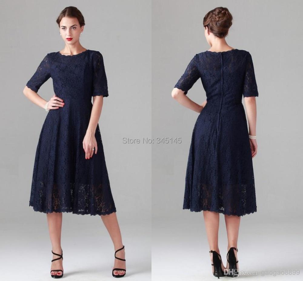 Popular Dark Blue Tea Length Dresses-Buy Cheap Dark Blue Tea ...