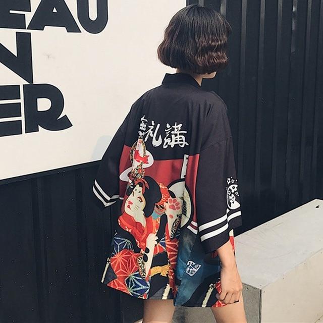 Women Sunscreen Shirts Kimono Cardigan Women Long Summer  Chiffon Print Kimono Mujer Kimonos Blouse Beach Harajuku 4