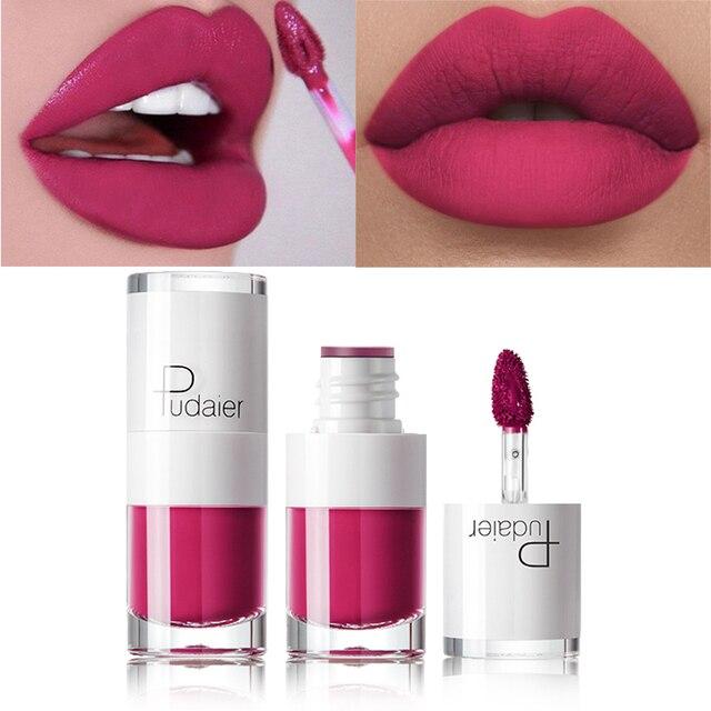 Pudaier marca 16 colores mate brillo de labios maquillaje impermeable de terciopelo rojo de labios Nude color de larga duración brillo de labios tubos lápices labiales líquidos