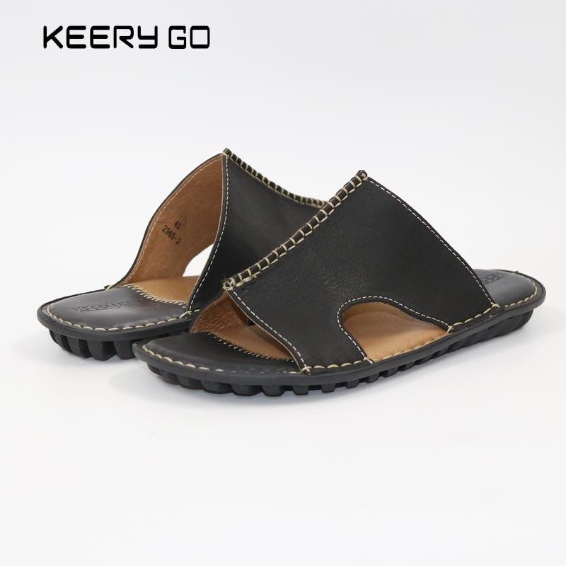ny sommar Högkvalitativa huvudskiktskofon fritidsklädda sandaler Klassiska herrklänningar med platt läder in