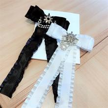 Korea Handmade Fabric Solid Bowknot Pearl Rhinestone Shirt Pins Neck Bow Tie Accessories Fashion Jewelry-YHNLB045F