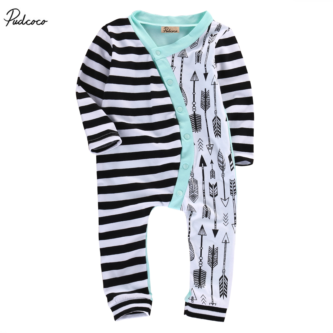 New 2017 Summer Newborn Baby Girl Boys Stripe Arrow Romper Long Sleeve Jumpsuit Outfits One-piecer Clothes