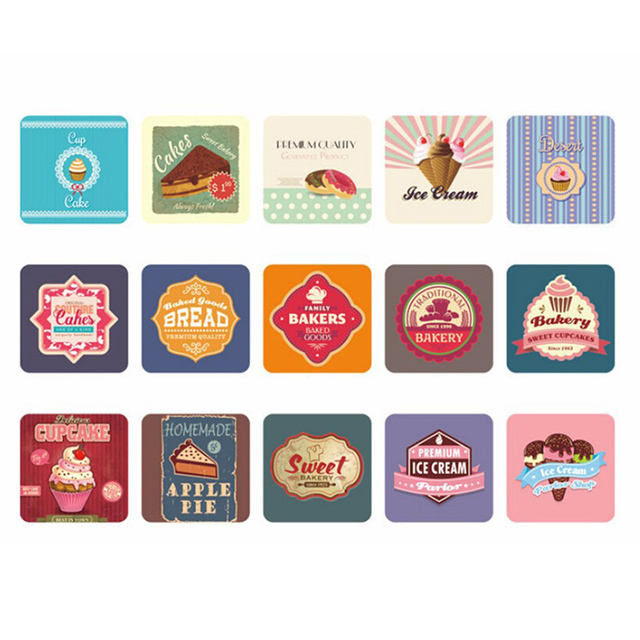 2017 38pcs lot mini cute kawaii diy stickers sweet cake bread print sticky paper for