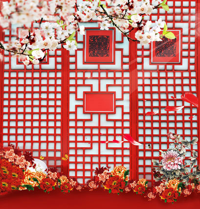 Red Chinese Window Photography Backgrounds Wedding Backdrop Lighting Photo Studio Vinyl Cloth Computer-Printed Canvas Props маникюрный набор vitek vitek vt 2212