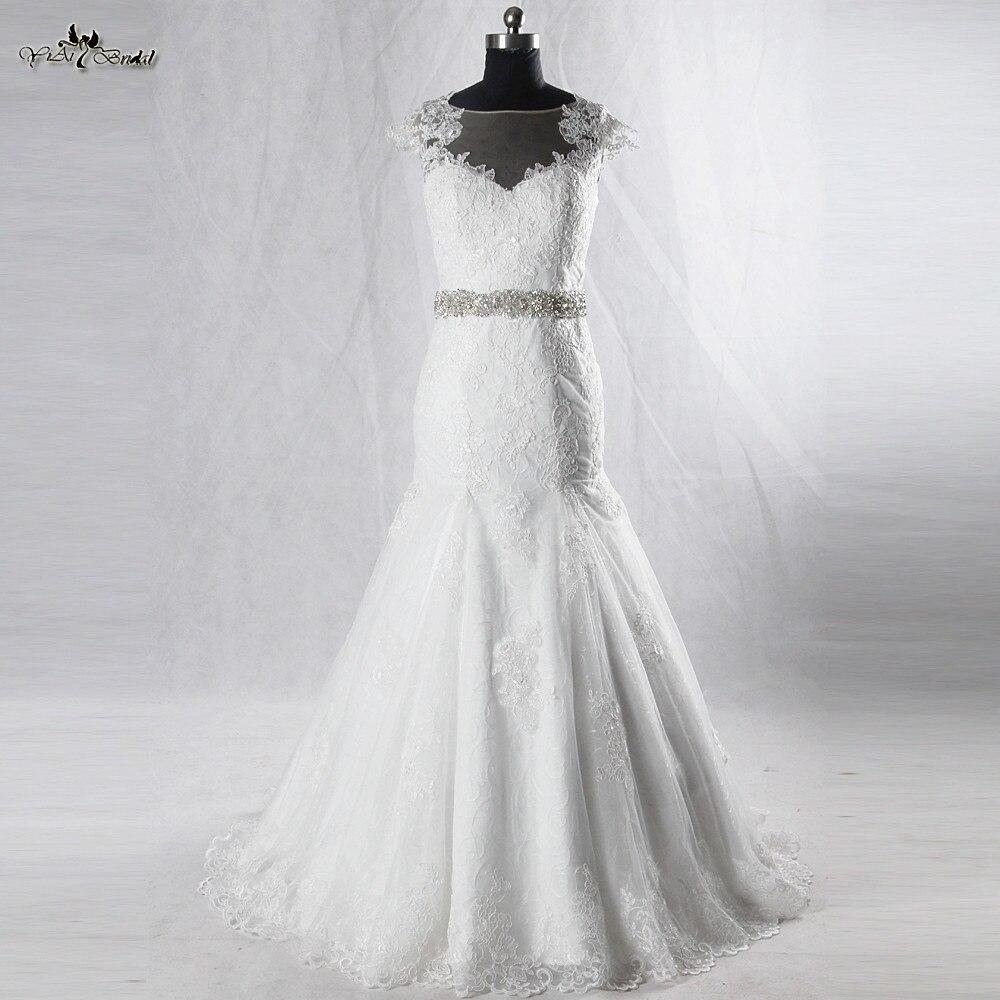 RSW928 Cap manches trompette robe de mariée dentelle dos nu robes de mariée Abito Da Sposa dans Pizzo