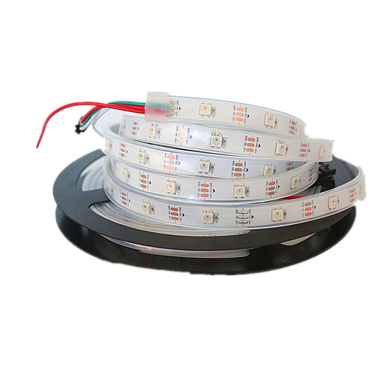 DC5V WS2812B 30 60 144 leds m Smartled pixel RGB individually addressable led strip light Black DC5V WS2812B 30/60/144 leds/m Smartled pixel RGB individually addressable led strip light Black/White PCB IC WS2812 pixel strips
