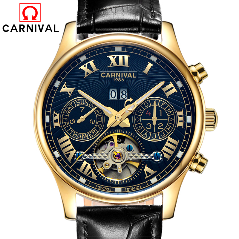 Luxury Carnival tourbillon watch men stainless steel waterproof Automatic machine date white dial wristwatch relogio feminine ultra luxury 2 3 5 modes german motor watch winder white color wooden black pu leater inside automatic watch winder