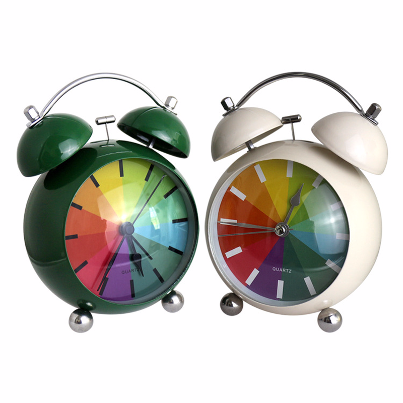Fashion New Lovely Candy Colors Convenience Mmetallic Paint Creative Rainbow Home Office With Round Pointer Small Alarm Clock