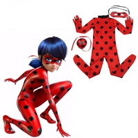 Ids Zip The Miraculous Ladybug Cosplay Costume Halloween Girls Ladybug Marinette Child Lady Bug Spandex Full
