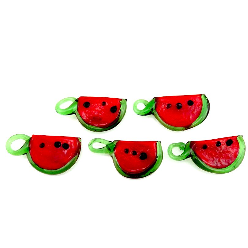 5pcs Red Watermelon Glass Charms Fruit Food Shape Pendant Charms for Kids Girl DIY Earrings Jewelry Making Supplies 21885
