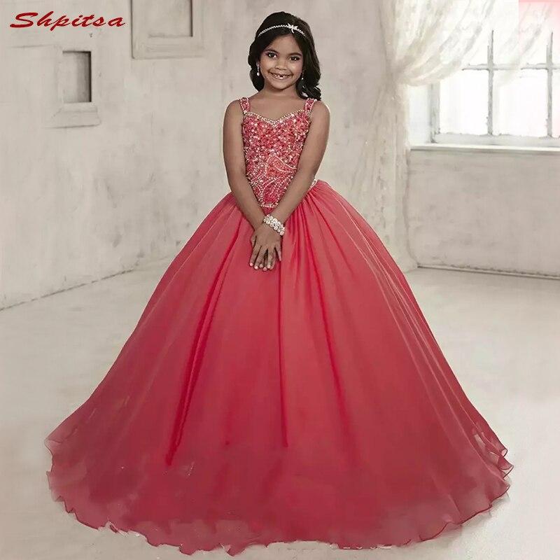 Luxury Crystals Flower Girl Dresses for Wedding Party First Pageant Communion Dresses 2018 vestidos primera comunion para ninas
