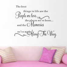 New High Quality Warm Quote The Best Thing In Life Home Decal Wedding Decoration Wall Sticker Removable 3D WallpaperVA8297