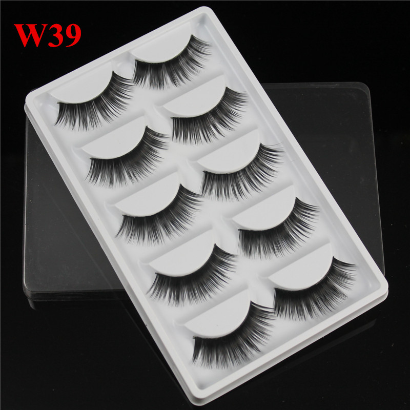 5 pairs thick False eyelashes long fake eyelash full strip lashes makeup fashion eyelashes extensions W39 with model show