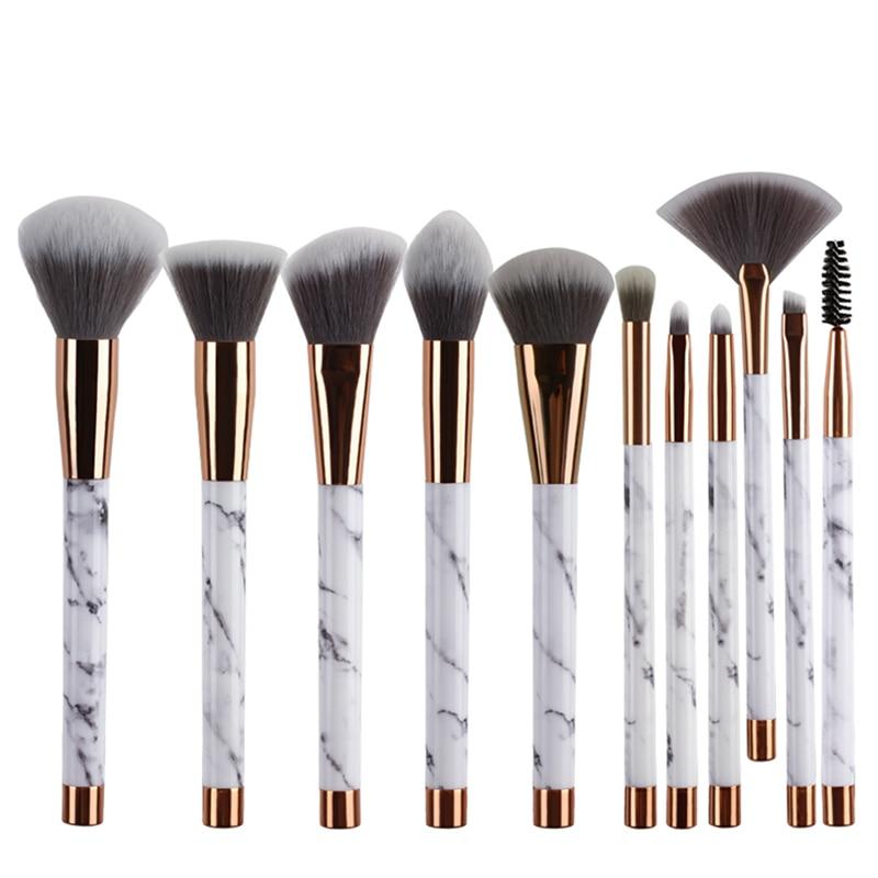 ELECOOL 10Pcs/Set Professional Makeup Brushes Marbling Handle pincel maquiagem Eye Shadow Eyebrow Lip Eye Make Up Brush Tool elecool 32 pcs makeup brush set soft