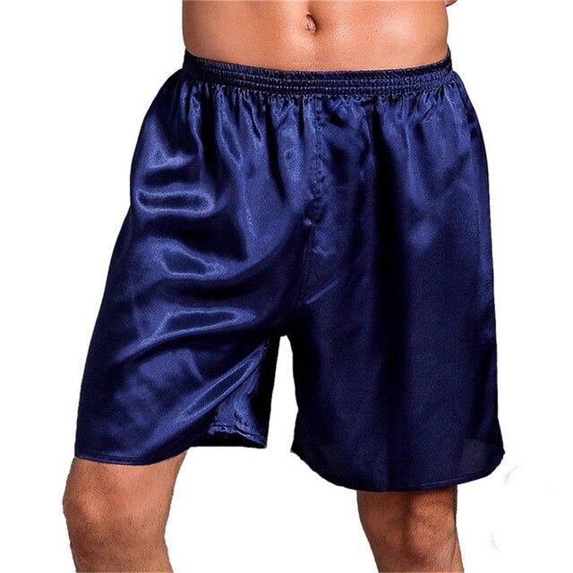 more photos 6b887 d78c0 US $5.54 28% OFF Sommer Lose sexy satin seide pyjama homme Schlaf Bottoms  unterwäsche männer Kurze herren shorts weiche Boxer Pyjama Nachtwäsche ...