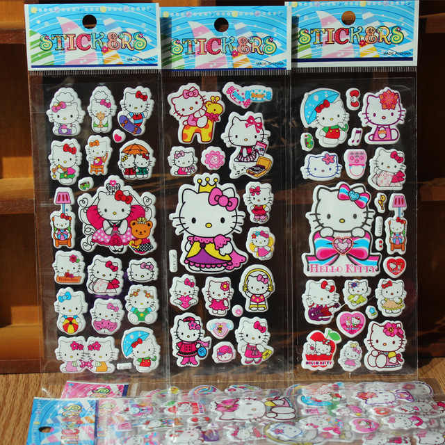 % 10 feuilles/lot 3D Cartoon animal hello kitty stickers muraux enfants jouets bulle autocollants enseignant bébé cadeau récompense PVC autocollant