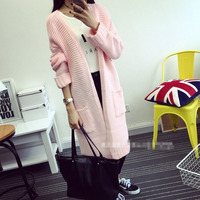 Women Sweater Long Cardigan 2015 Fashion Autumn Winter Style Long Sleeve Loose Thick Knitted Cardigan Female