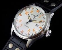 MENS 47mm Parnis Número de Naranja mano fecha Reloj Automático independiente
