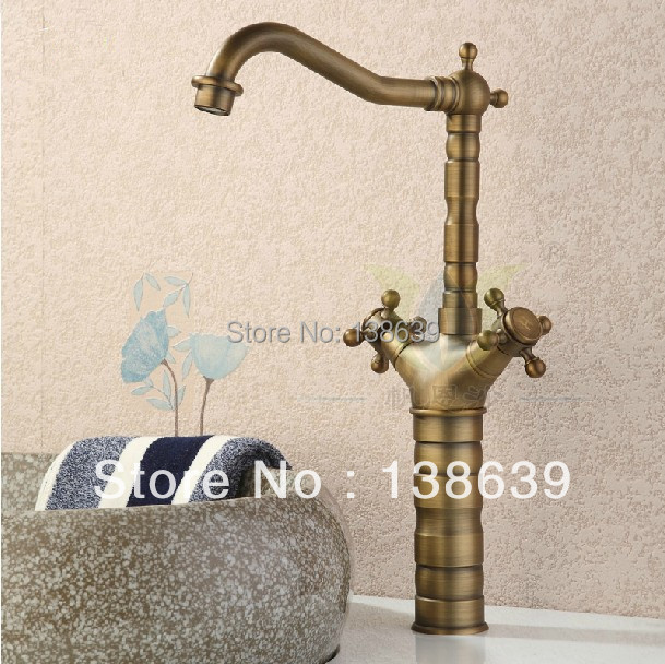 Free shipping luxury antique brass bathroom kitchen basin sink mixer tap faucet,dual handles brushed tall bathroom faucet-9056B