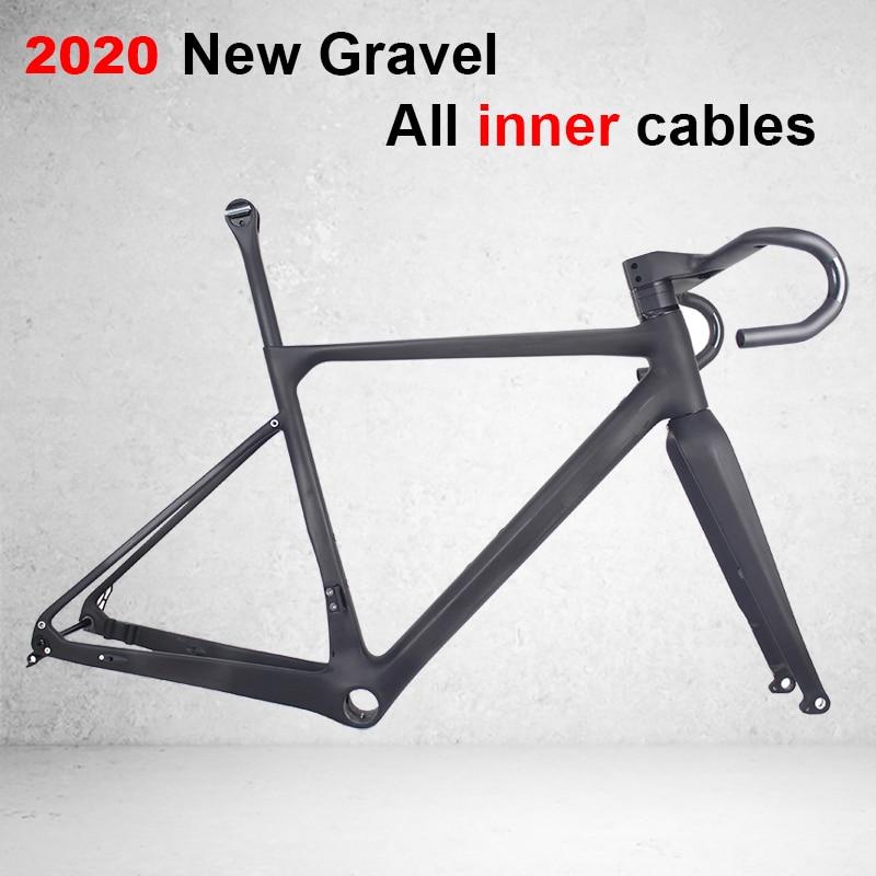 Spor ve Eğlence'ten Bisiklet kadrosu'de % 2020 Tam Karbon Fiber Tüm Iç kablo Çakıl Bisiklet Tam Karbon Çakıl bisiklet şasisi 700 * 40c ile gidon  cyclocross GR039 title=
