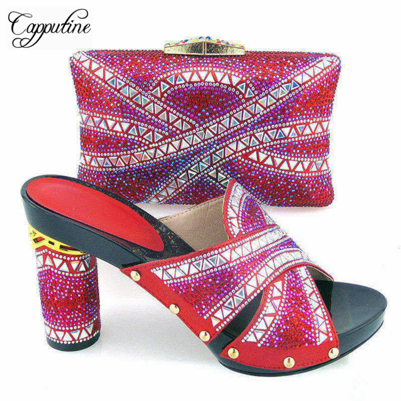 Capputine African Summer Elegant Matching Shoes And Bag Sets Italian Rhinestone Ladies High Heels Shoes and Bag Set For Party capputine new arrival fashion shoes and bag set high quality italian style woman high heels shoes and bags set for wedding party
