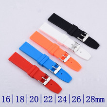 16 18 20 22 24 26 28 mm Waterproof Rubber / Silicone Sport Watch Band Strap Watchband + Stainless Buckle Watch Bracelet +Tools все цены