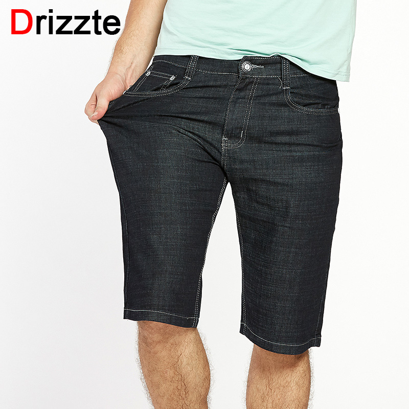 где купить Drizzte Men Plus Size 40 42 44 46 48 50 52 Stretch Denim Large Big Jeans Shorts Black Blue Jean Trousers Pants For Summer дешево