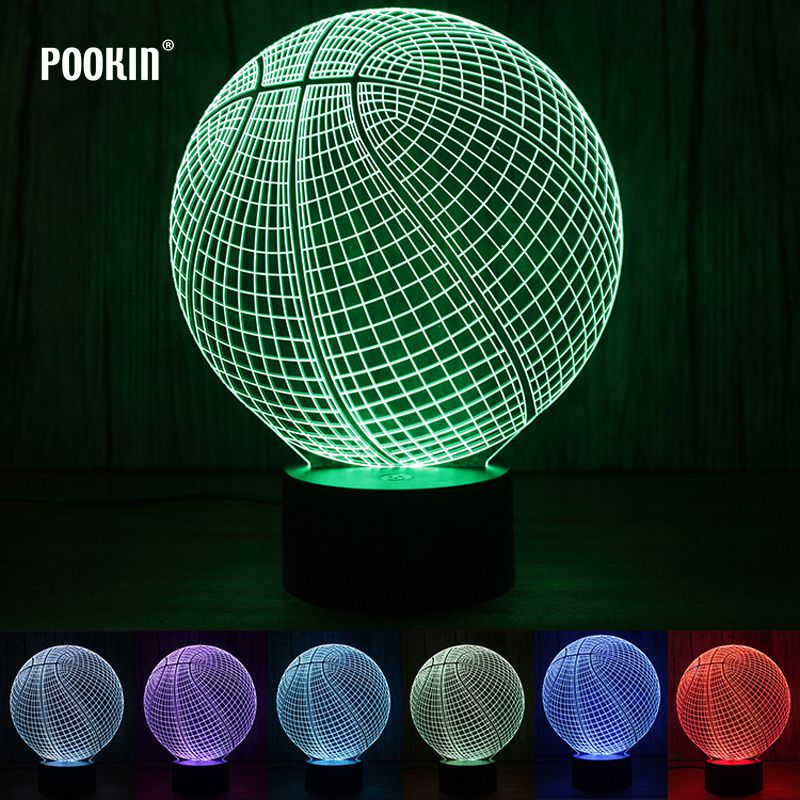 3D Changing Lighting LED Lamp Basketball Snake Poker Shape Night light Touch Switch For Holiday Room Decoration Night Light