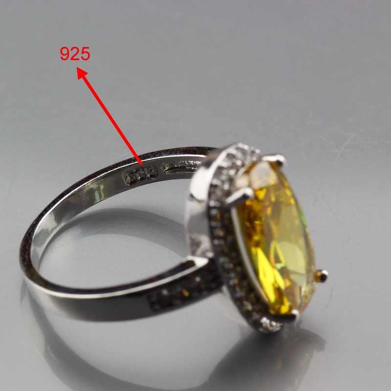 แมนนี่ยอดเพชรคุณภาพเงิน925 Dazzingสีเหลืองเพทายรูปไข่ชุดเครื่องประดับสำหรับผู้หญิงแหวนขนาด6/7/8/9/10 JS401
