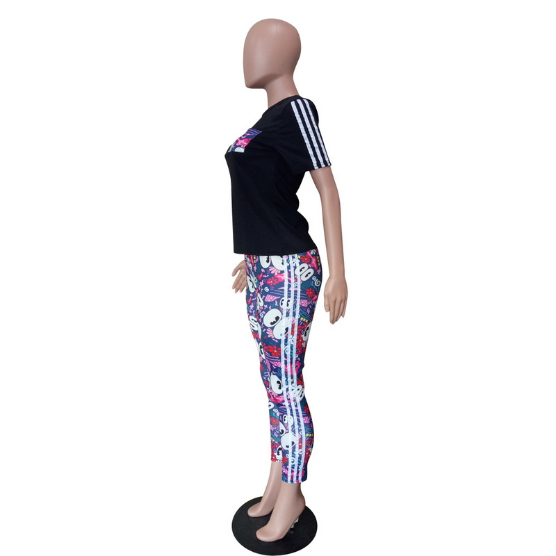 Cartoon Print Two Piece Set Bodycon Bandage Outfits For Women Striped Side Sweatsuit Set Sexy Casual Matching Suits Clothing in Women 39 s Sets from Women 39 s Clothing