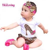 Baby Girls 100 Cotton Short Sleeve Leopard 2015 Summer Style Bodysuit Bloomer Headband Ruffles Newborns Girl