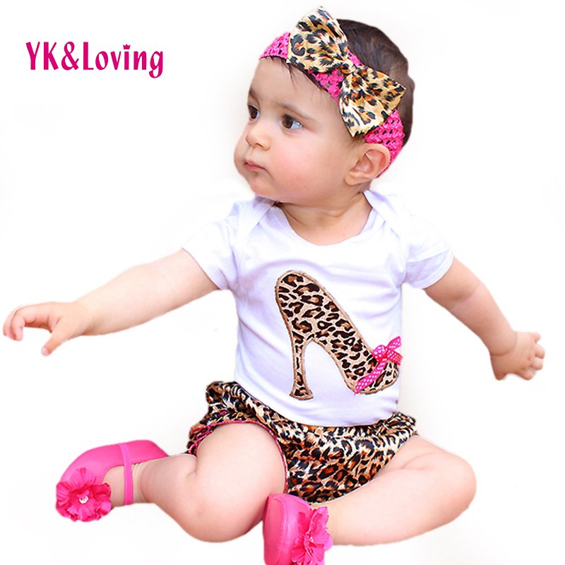 Baby Girl Set Cotton Short Sleeve Bodysuit Leopard Bloomers Shorts Headband Newborn clothes Kids Girl Clothes Sets 3pcs set cute newborn baby girl clothes 2017 worth the wait baby bodysuit romper ruffles tutu skirted shorts headband outfits