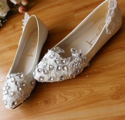 ФОТО Handmade rhinestone white crystal wedding shoes for women flat low high heels handmade brides bridesmaid party wedding flats