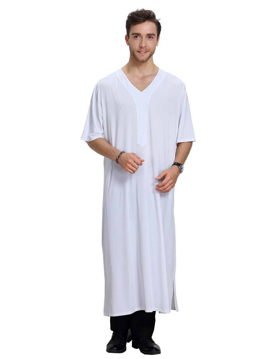 Kurta Islamic Arab Clothing Men Abaya Thobe Loose Kaftan Arab Adult Half  Sleeve Long Clothes Jubba V-Neck Muslim Men Casual Wear 06e1b6aaf