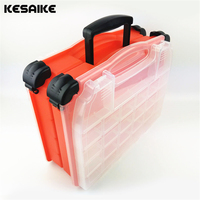 KESAIKE Big size 38*17*32cm Portable Fishing Tackle Box, Double side multi plaid Fishing Accessories Waterproof Tools Set box