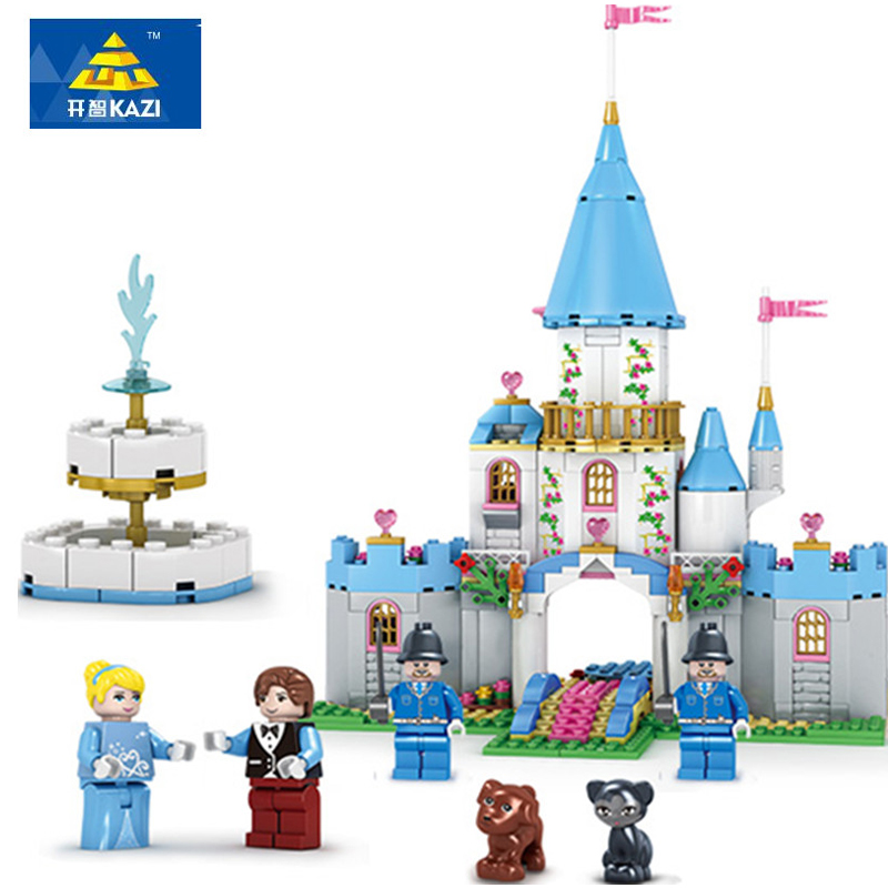 KAZI City Girl Friends Cinderella Romantic Castle Building Blocks Assembly Princess Dream House Bricks Toys Gift Brinquedos new 37008 561pcs girl friends princess anna and the princess castle building kit blocks bricks toys for children gift brinquedos