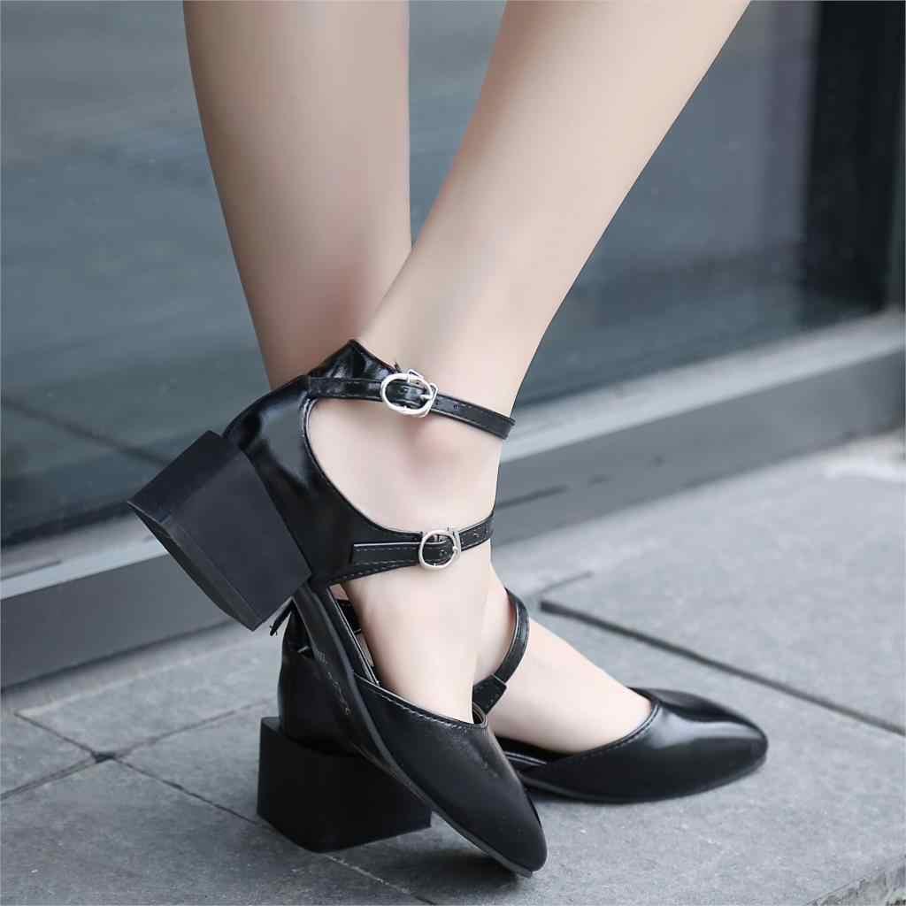 Frühling Sommer Frauen Sandalen Patent Leder Medium Heels Mary Janes Doppel Schnalle Pumpen Kreuz-gebunden sexy ferse zapatos mujer 6284