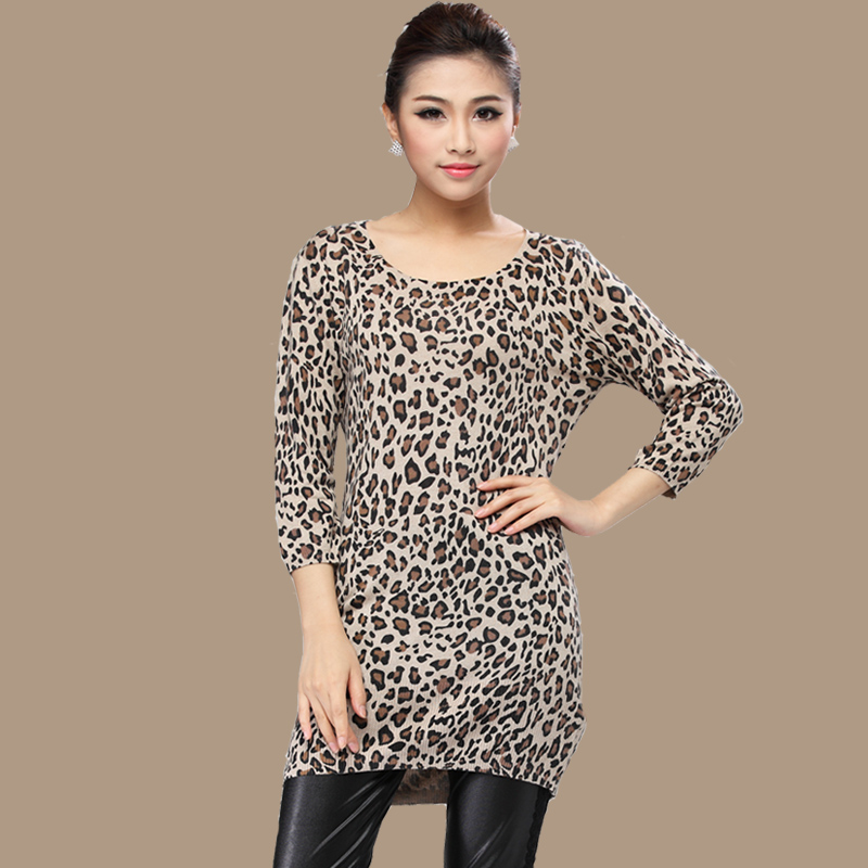 autumn leopard print silk cashmere three quarter sleeve mulberry silk font b fashion b font sweater