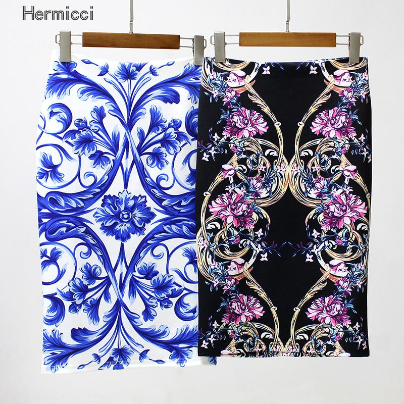Hermicci Summer 2017 Runway Vintage Ink Painting Print Pencil Bodycon Back Split High Waist Women Skirts Fashion Casual Skirt